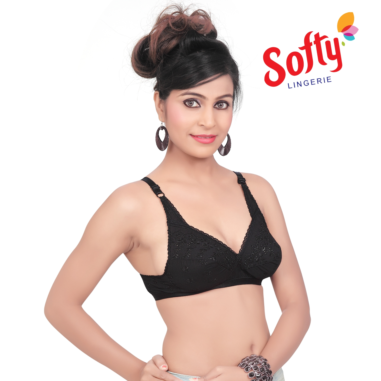06bca0a49c680 Softy Elegant Embroidered Bra Ravina Black – Softy Bra – Push Up Bra ...